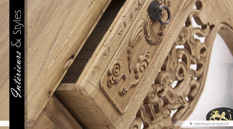 Console de style oriental en pin recyclé et sculpté