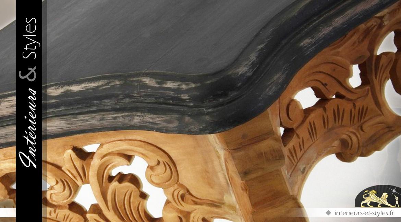 Console baroque en teck finition bicolore
