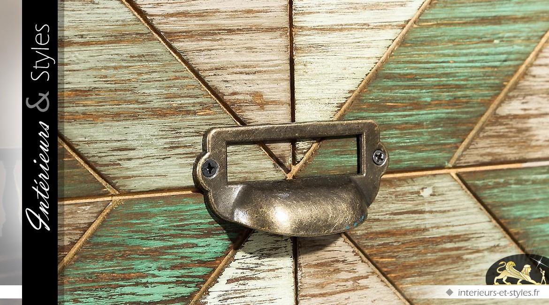 Console vintage bois et métal 3 tiroirs motifs géométriques