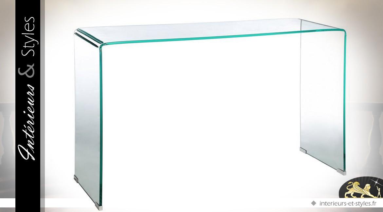 Console design transparente en verre trempé 12 mm