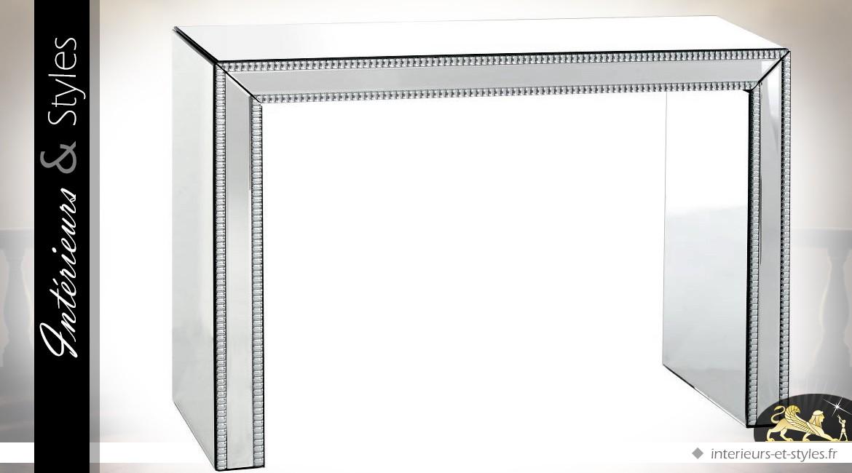 Console Art Déco avec habillage en miroirs