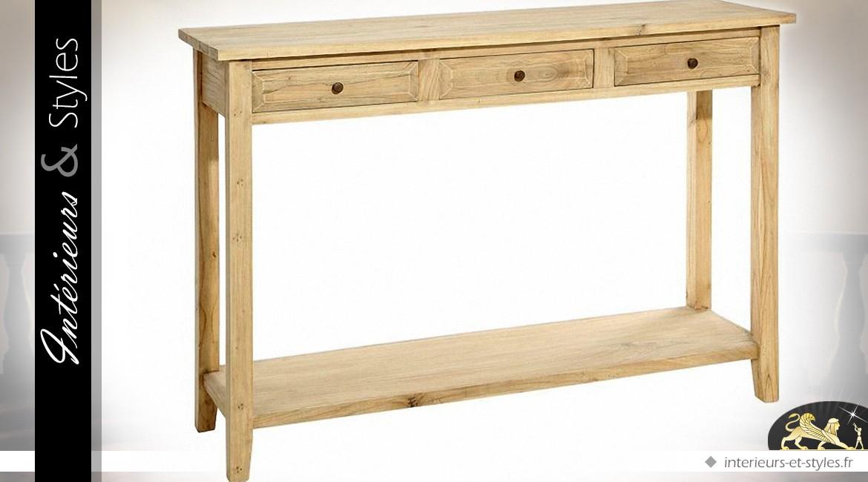 Console rustique à 3 tiroirs et 2 plateaux bois naturel