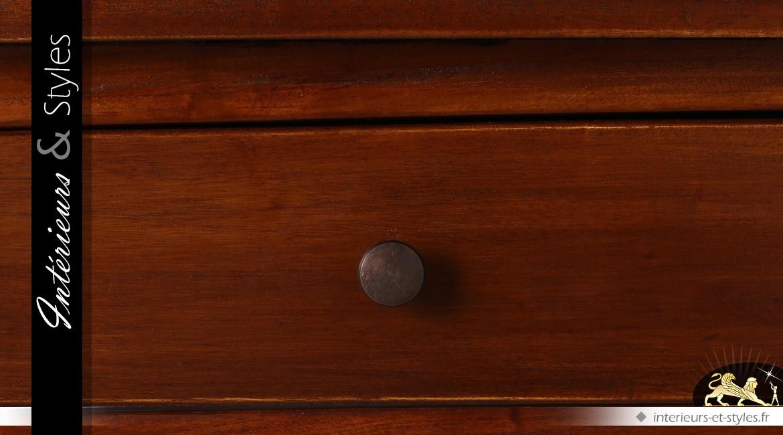 Console style colonial acajou médium 2 plateaux 2 tiroirs