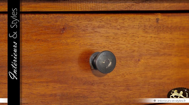 Console en acajou à deux tiroirs et plateau secondaire