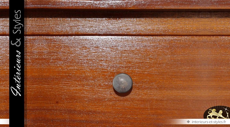 Console rétro et rustique en acajou avec 1 tiroir