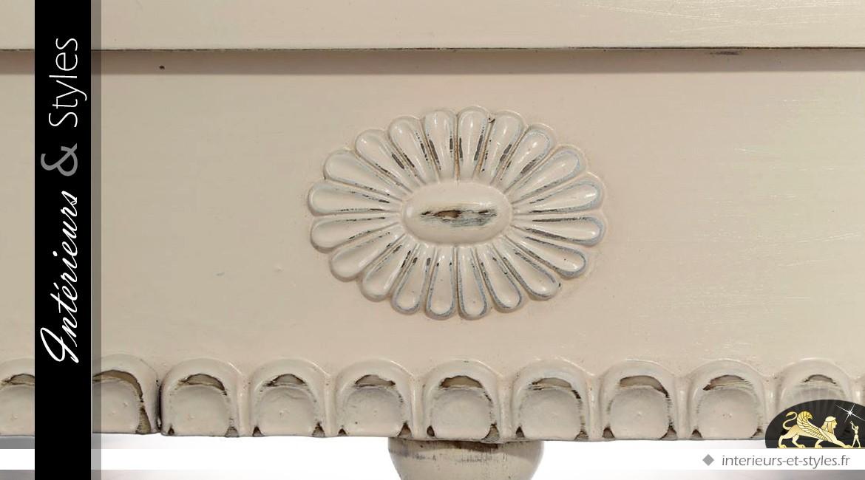Console demi-lune patine blanc cassé style romantique