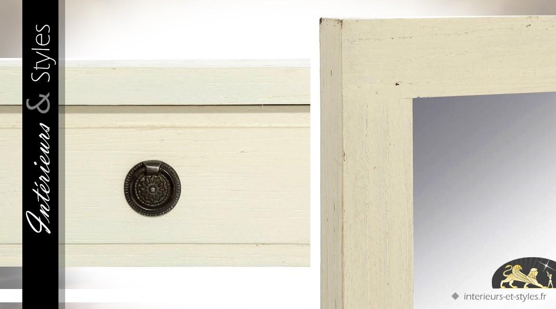 Console blanche moderne en mindi avec miroir rectangulaire