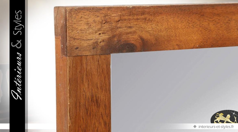 Console moderne finition cire antiquaire avec miroir rectangulaire