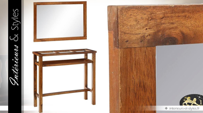 Console marron en mindi avec plateau verre et miroir assorti