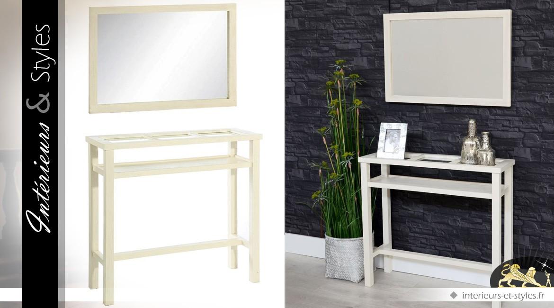 Console blanche en mindi avec plateau verre et miroir assorti