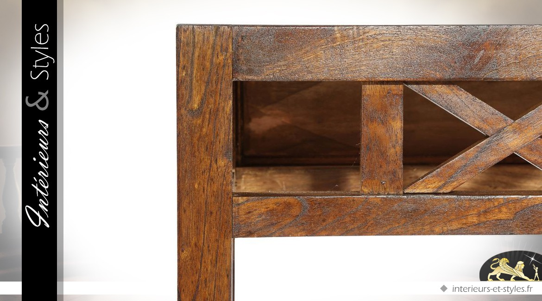 Console marron mindi façade à croisillons et miroir assorti