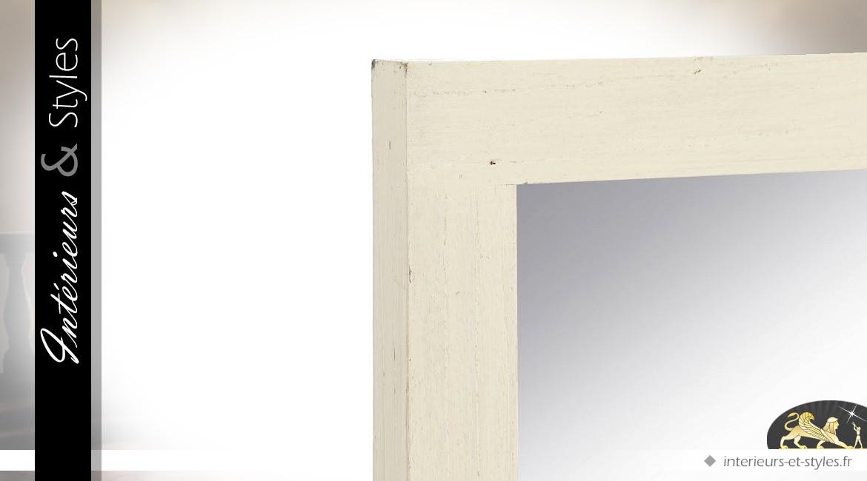 Console blanche mindi façade à croisillons et miroir assorti