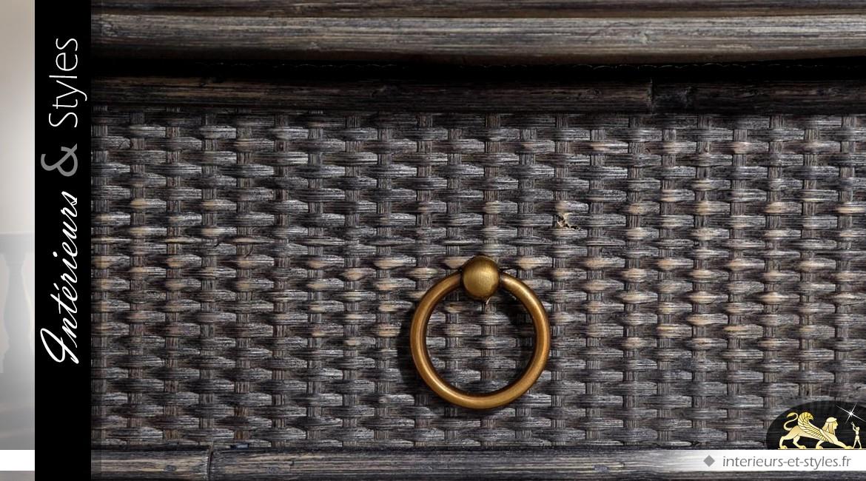 Console en rotin de style exotique coloris gris anthracite