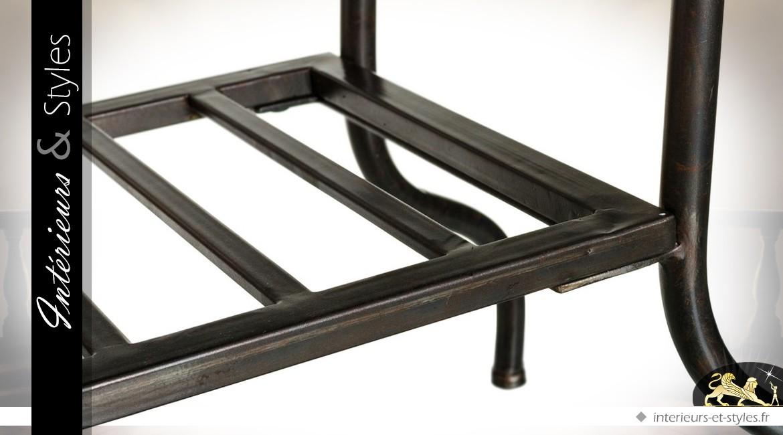 Console bois et métal coloris noir et bois naturel