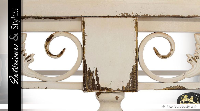 Console demi-lune sculptée style rétro patine crème antique