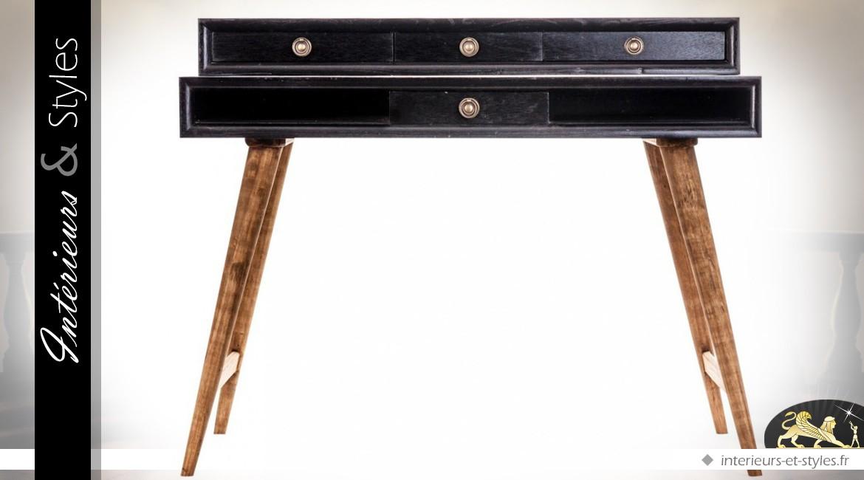 Bureau vintage avec rehausse coloris noir antique et bois naturel