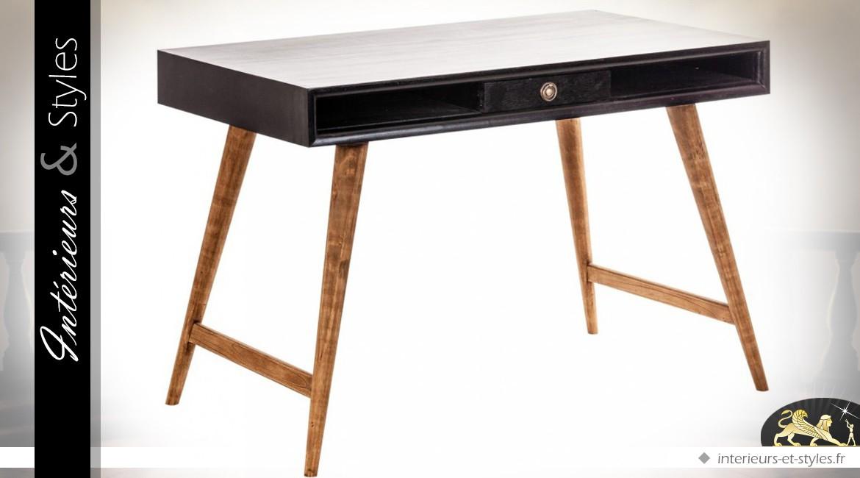 Bureau vintage avec rehausse coloris noir antique et bois
