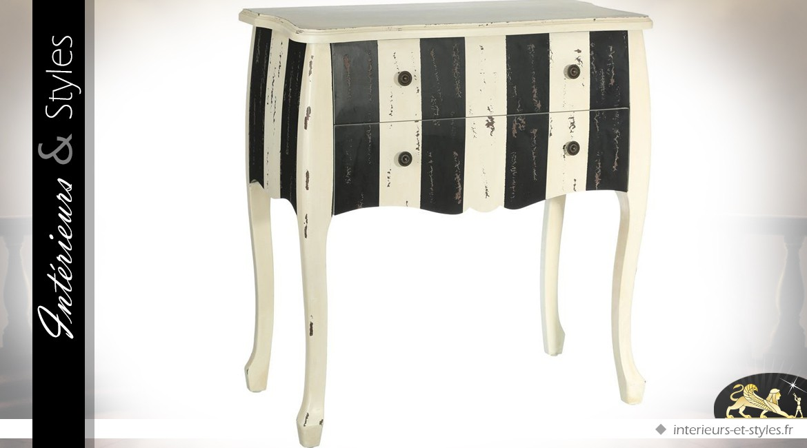 Commode A Bayaderes Noire Et Blanche 2 Tiroirs Finition Vieillie