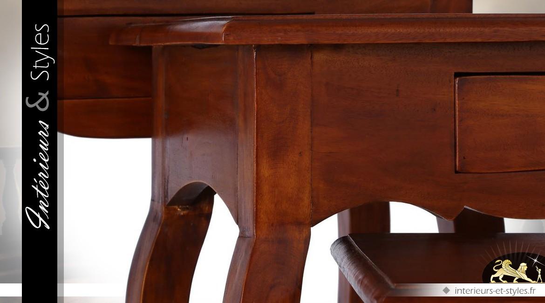 Série 3 tables auxiliaires style rétro acajou finition cire antiquaire