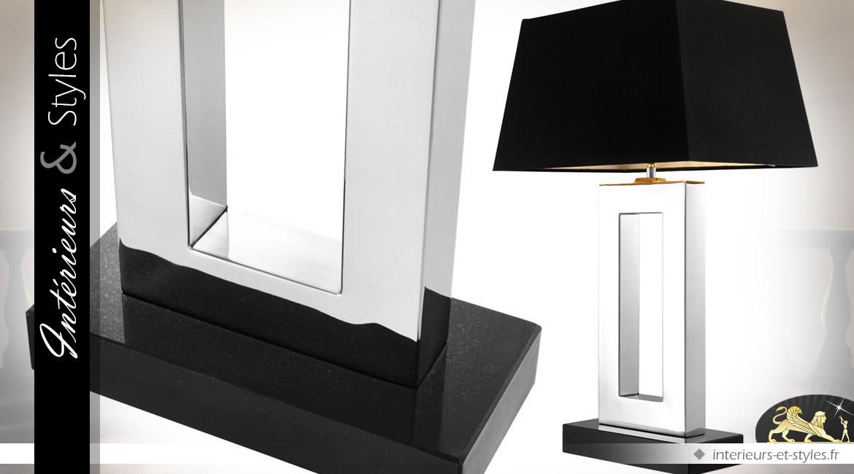 Lampe Boston Noir Et Argent Design Finition Nickel Argente 71 Cm