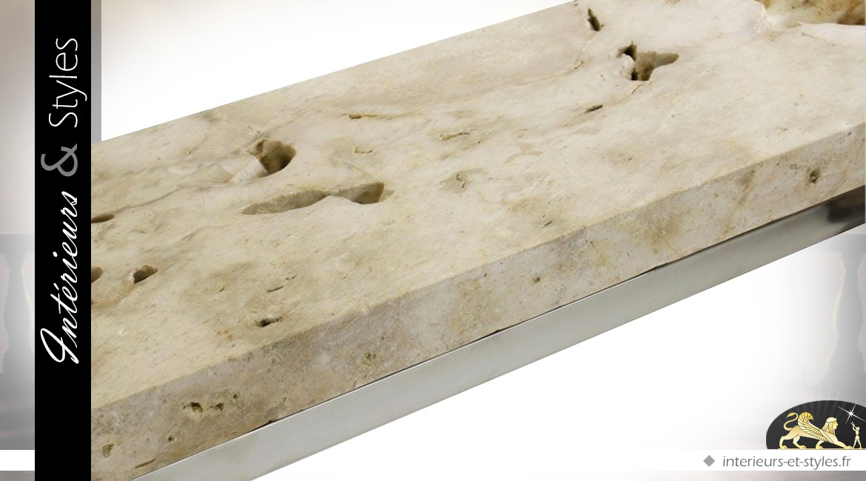 Console design acier inox avec plateau en pierre brute