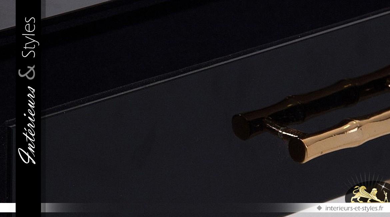 Console en métal doré et noir brillant