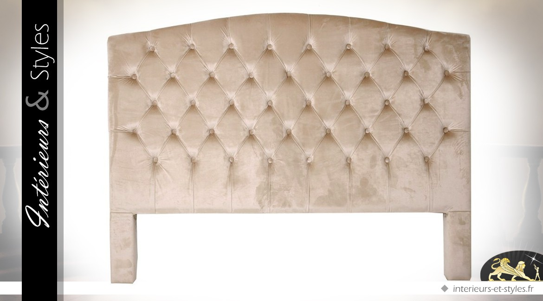 t t de lit en lin beige clair finition capitonn e 156 cm int rieurs styles. Black Bedroom Furniture Sets. Home Design Ideas