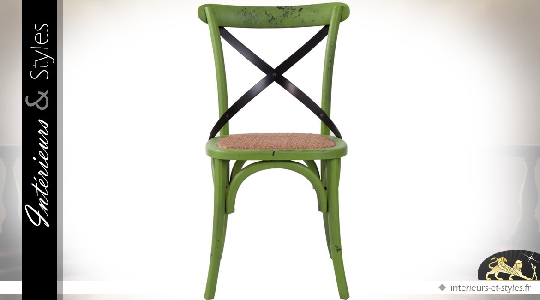 Chaise Bistrot Vintage En Orme Et Rotin Patine Vert Pomme Antique