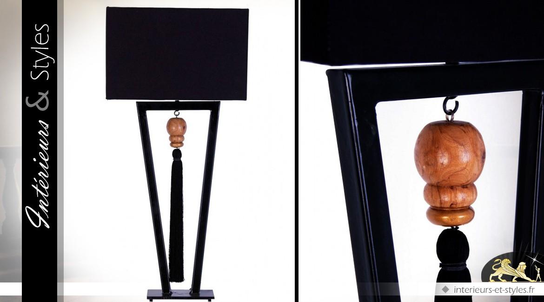 Lampe de salon argent chrom et abat jour blanc en lin 86 for Grandes lampes de salon
