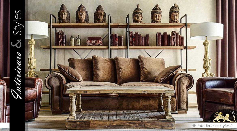 grande tag re de style industriel en bois et m tal. Black Bedroom Furniture Sets. Home Design Ideas