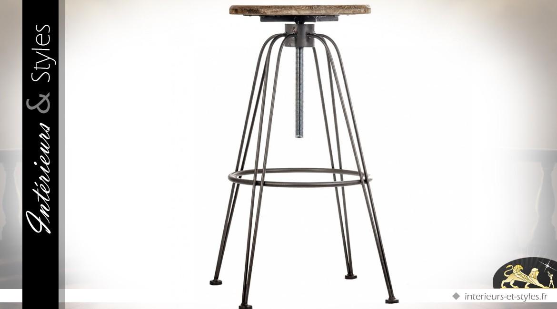 tabouret de bar style industriel en fer forg et sapin massif int rieurs styles. Black Bedroom Furniture Sets. Home Design Ideas