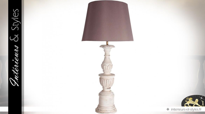 lampe de salon argent chrom et abat jour blanc en lin 86. Black Bedroom Furniture Sets. Home Design Ideas