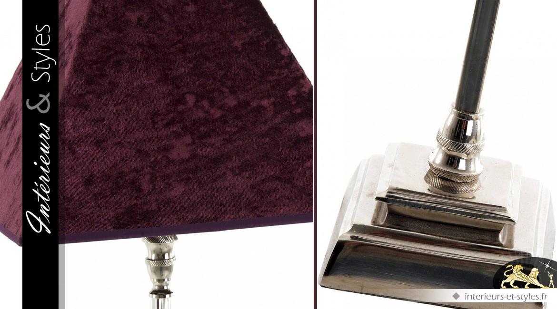 Lampe de salon pied argenté et abat-jour velours Bordeaux 72 cm