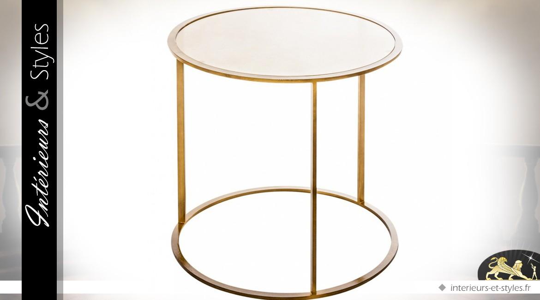 Table d'appoint ronde fer forgé finition dorée et plateau miroir