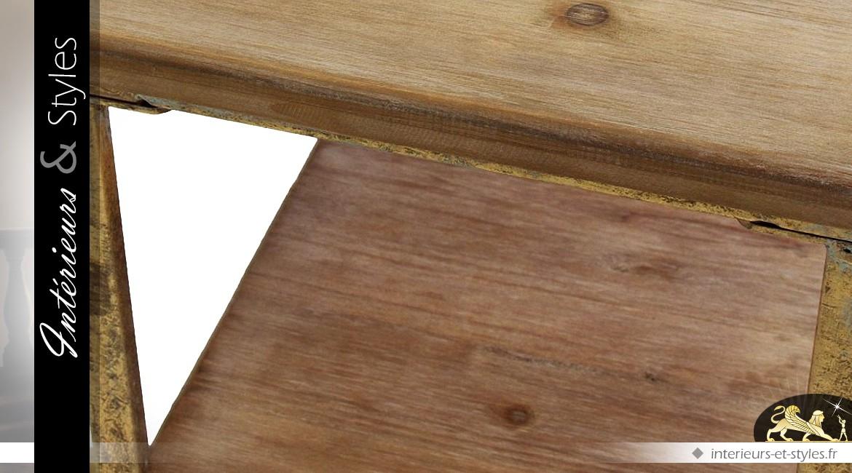 Bureau doré style indus et rétro en métal et sapin intérieurs