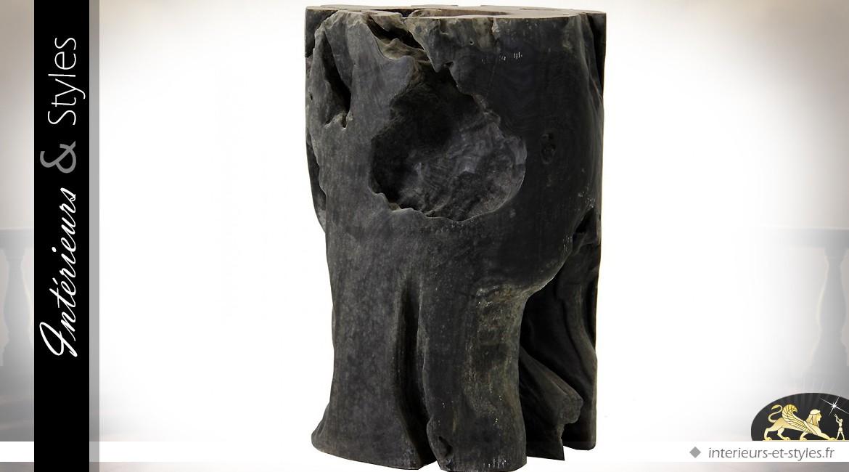 Sellette tronc d'arbre en teck massif noir