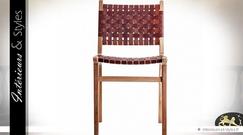 Chaise de style exotique en teck et lamelles de cuir acajou
