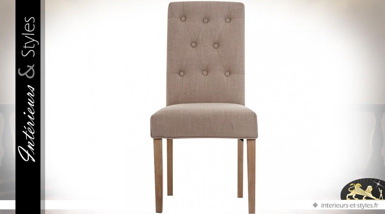 chaise dossier haut tissu coloris lin cru dossier capitonn int rieurs styles. Black Bedroom Furniture Sets. Home Design Ideas