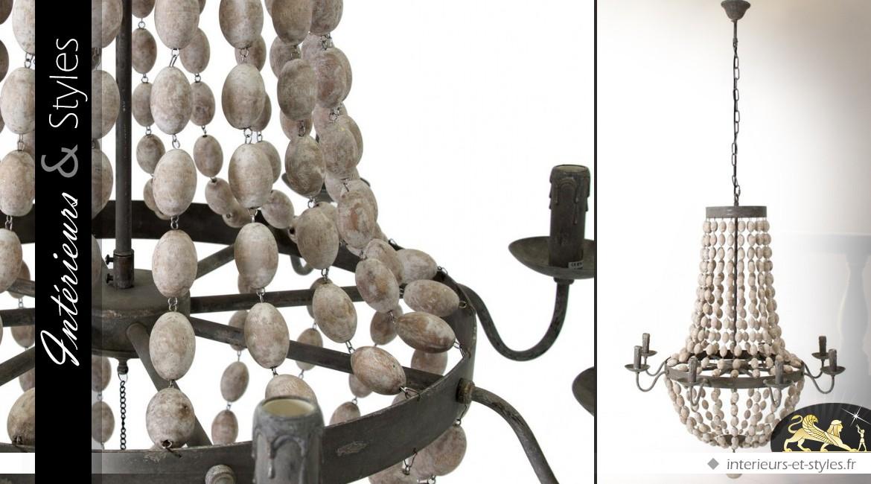 Lustre 8 feux à pampilles métal et bois d'eucalyptus Ø 82 cm