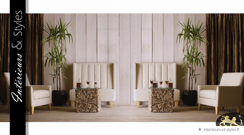 table basse carr e en bois flott et plateau verre tremp. Black Bedroom Furniture Sets. Home Design Ideas