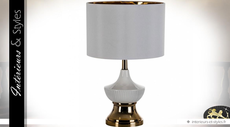 Lampe de table style vintage blanche et or