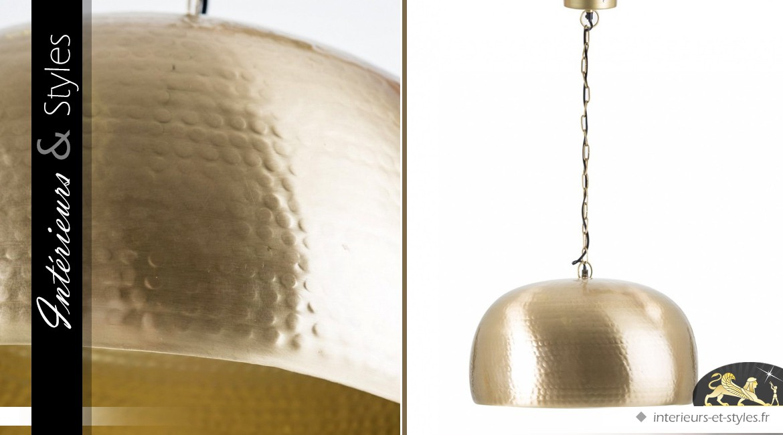 Suspension vintage Art Déco métal doré semi-sphérique Ø 44 cm