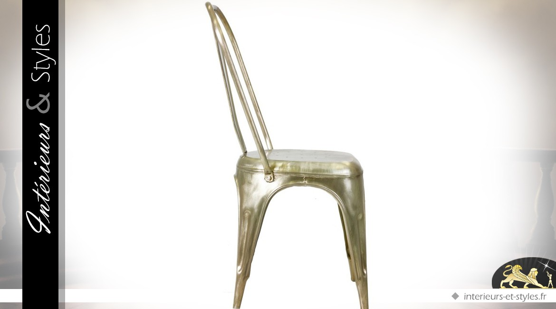 Chaise Style Indus Et Vintage Finition Laiton Dore Ancien