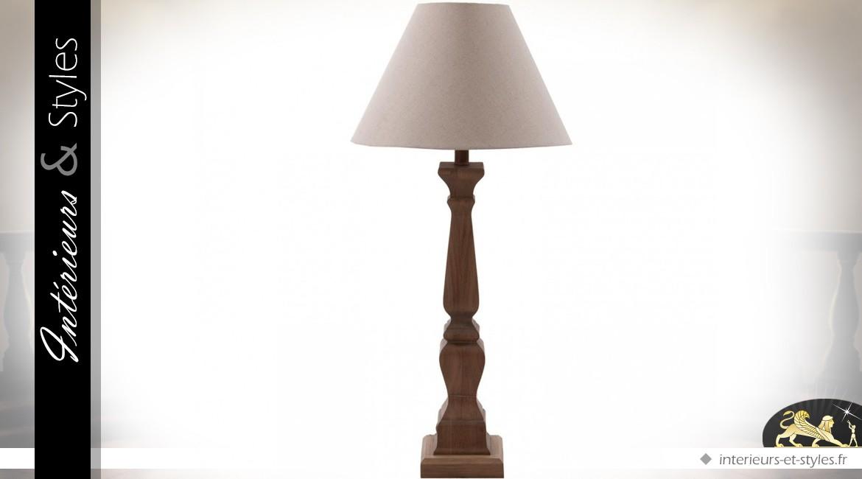 Lampe de salon pied en chêne abat-jour coton écru