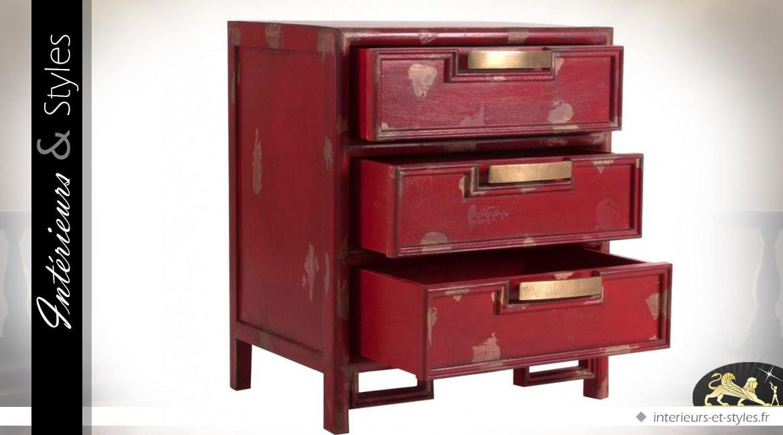 Table de chevet rouge 3 tiroirs style brocante - Table de chevet classique ...