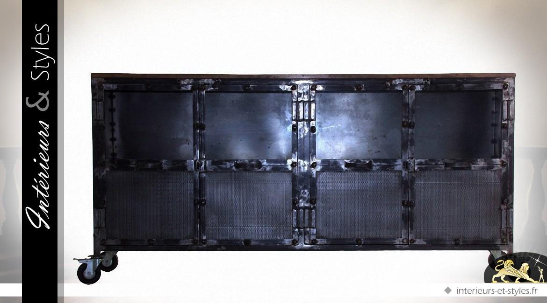 buffet industriel en bois et m tal 4 portes 3 tiroirs int rieurs styles. Black Bedroom Furniture Sets. Home Design Ideas