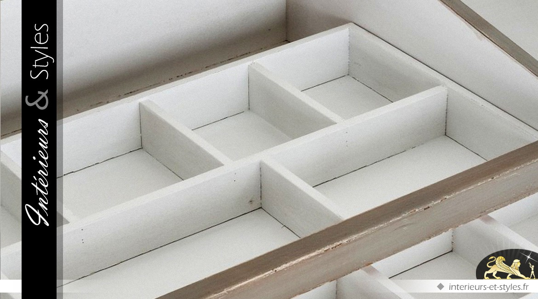 Vitrine d'exposition horizontale en peuplier coloris gris souris