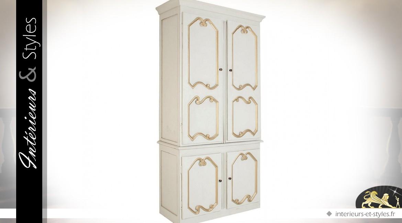 Armoire Blanche Et Doree Charme Retro 210 Cm Interieurs Styles