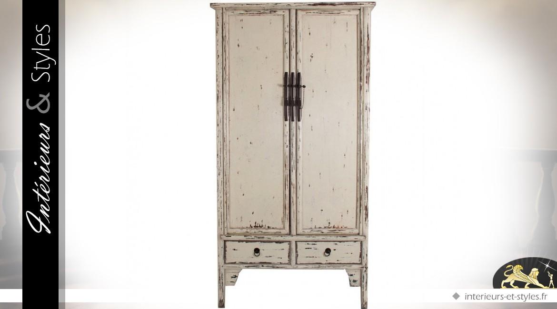 armoire blanche 2 portes et 2 tiroirs rtro brocante