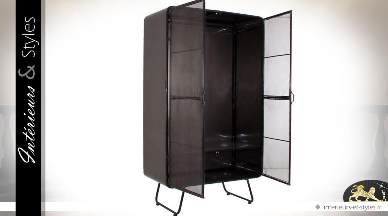 vitrine armoire style industriel en m tal gris anthracite int rieurs styles. Black Bedroom Furniture Sets. Home Design Ideas